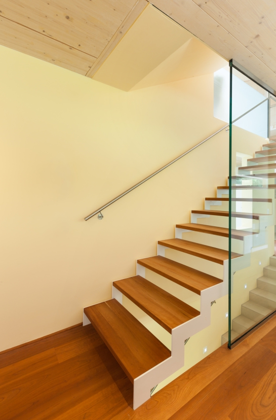 mountain house, modern architecture, interior, staircase